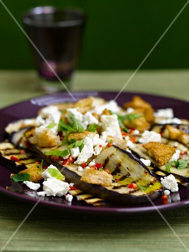 Grilled aubergines with feta and mint