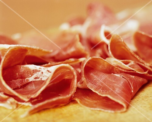 Various slices of raw ham (close-up)