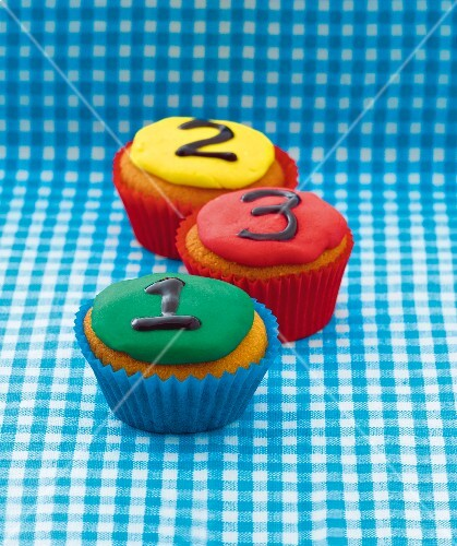 Cupcakes decorated with numbers