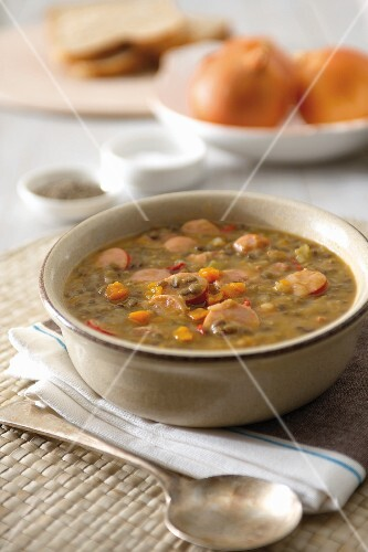 Lentil soup with Vienna sausages