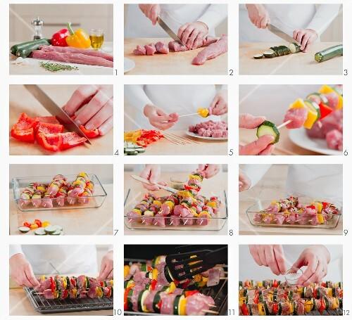 Grilled beef and vegetable kebabs being prepared