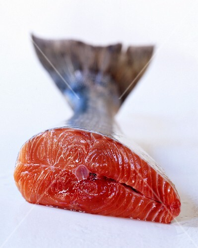 Fresh salmon, halved