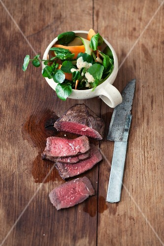 Flank steak with watercress salad