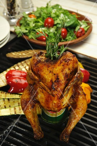 Beer tin chicken, grilled vegetables and salad