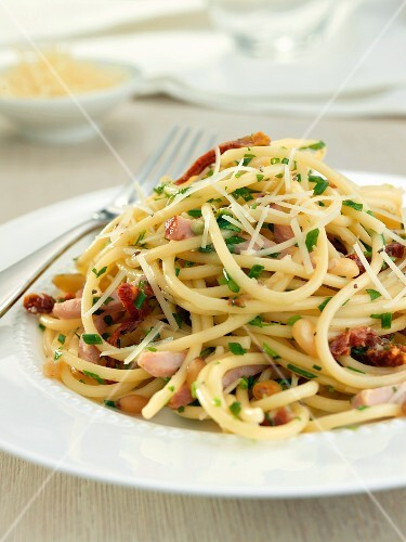 Single Serving of Spaghetti Carbonara on a White Plate