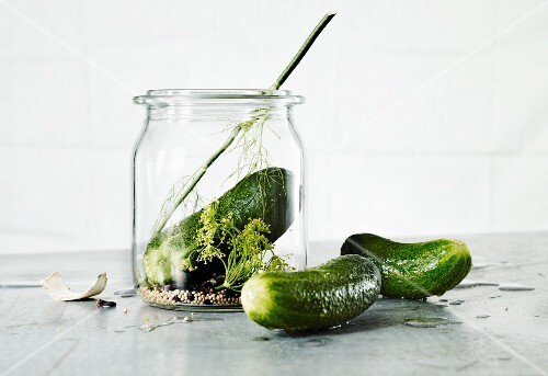 Gherkins and a jar