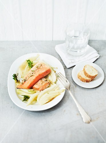 A fennel medley with steamed organic salmon