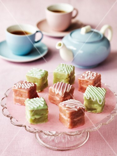 Various petit fours on a cake stand for tea