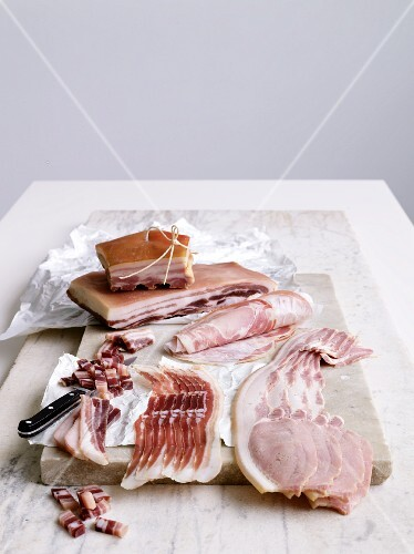 Various types of bacon and ham