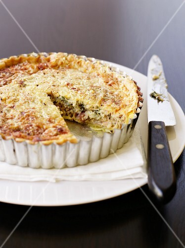Vegetable and bacon tart, sliced