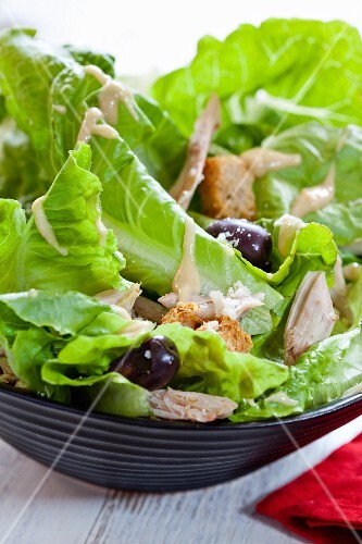 Caesar salad with olives