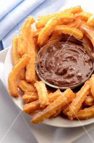 Platter of Churros with Chocolate Dipping Sauce