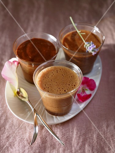 Three chocolate mousses (dark chocolate, nougat and milk chocolate)