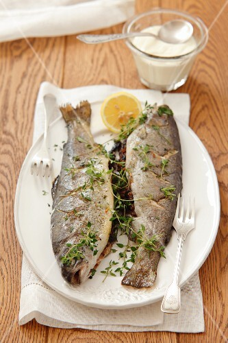Stuffed trout with buckwheat and mushrooms