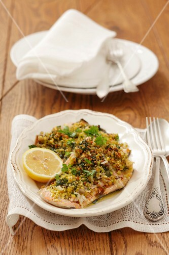 Trout fillets with a pistachio crust