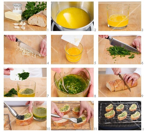 Preparing garlic baguettes