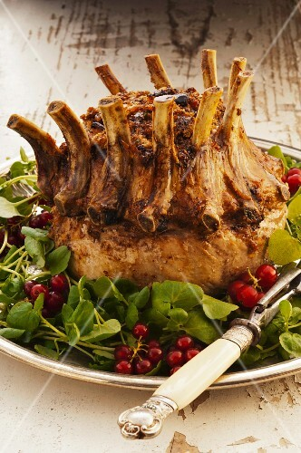 Lamb crown roast on a bed of salad