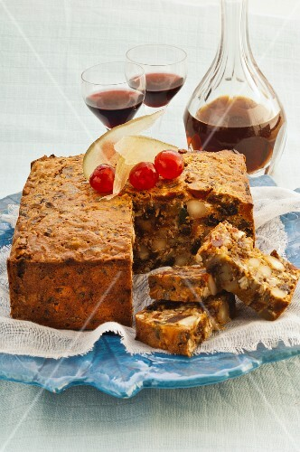 Fruit cake with coconut and rum