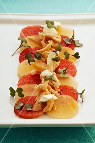 Melon salad with trout fillet