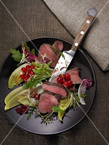 Deer fillet with green salad and cranberries