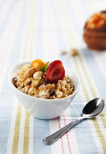 Bircher muesli with almonds and fresh fruits