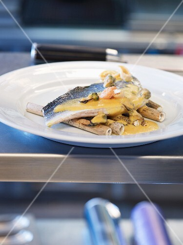 Seabream with a sweet potato and seafood sauce
