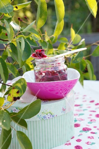 Rose jam with Amelanchier berries