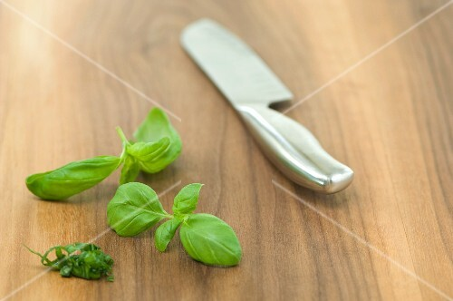 Fresh basil and a knife on a wooden surface