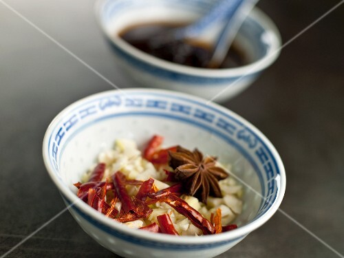Chinese Spice Bowl; Chopped Onion, Garlic, Red Pepper and Star Anise; Black Bean Sauce in Bowl