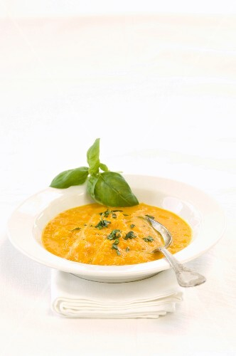 Pumpkin soup with basil