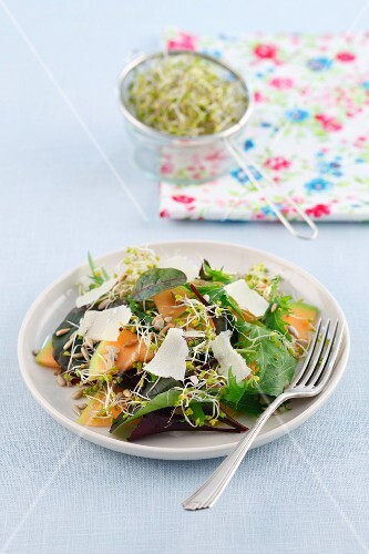 A salad made with cantaloupe melon, sunflower seeds, broccoli and Parmesan cheese