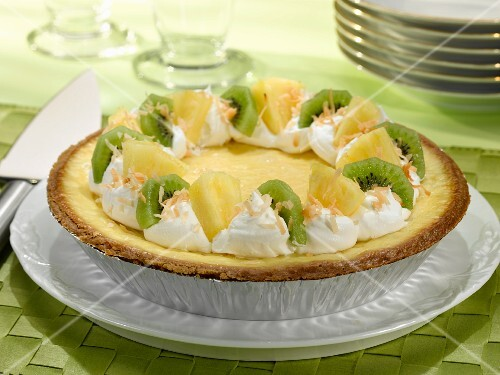 Pina Colada Pie with Tropical Fruit Garnishes