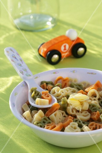 A colourful bowl of pasta (children's meal)