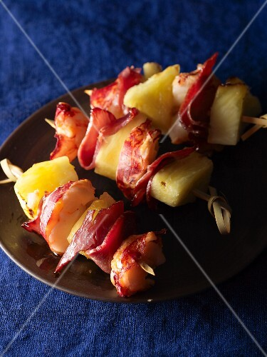 Prawn, pineapple and bacon kebabs