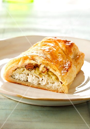Fish wrapped in puff pastry
