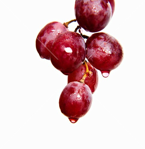 Dripping red grapes
