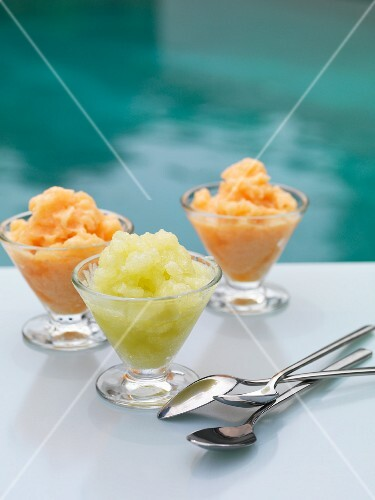 Three melon sorbets
