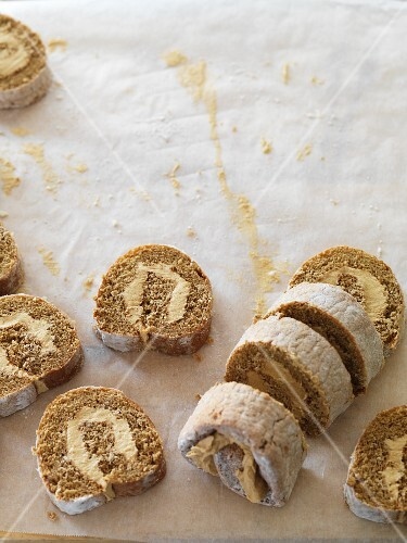 Coffee Swiss roll filled with buttercream