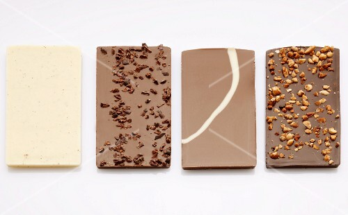 Four different bars of chocolate