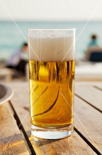 Glass of Beer on an Outdoor Deck