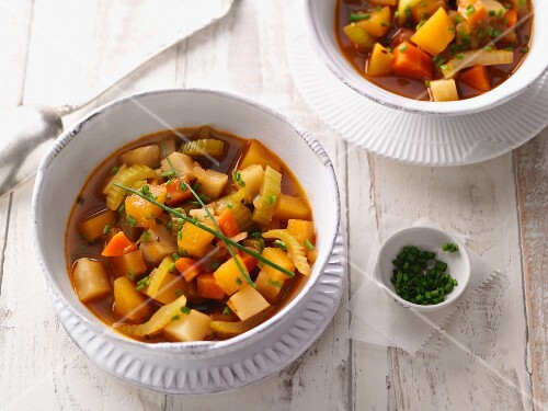 Root vegetable soup with chives