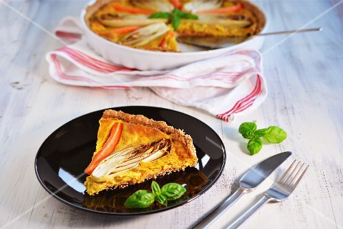 Chicory and carrot tart