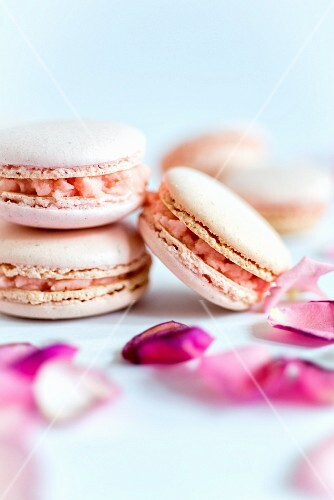 Pink macaroons with buttercream filling
