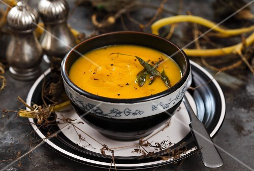 Cream of pumpkin soup with sage