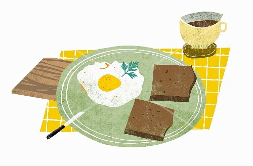Breakfast with coffee, wholemeal bread and fried egg (illustration)