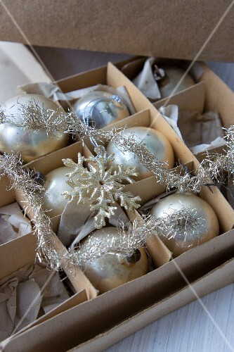 Box of antique Christmas baubles