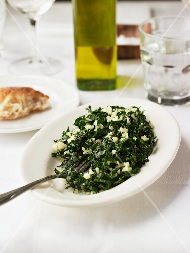 Maialino kale salad with pecorino cheese and olive oil, USA