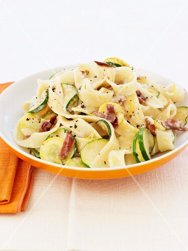 Fettucine with pancetta and courgettes in a mascarpone and lemon sauce