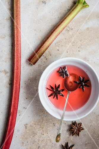 Fresh rhubarb and rhubarb syrup with star anise