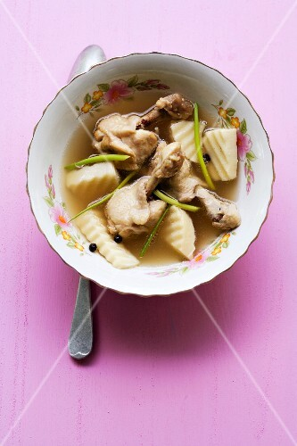 Thai soup with chicken legs and bamboo shoots